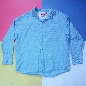 IZOD Island Linen Checkered Button-Up Long-sleeve